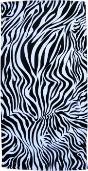 Case of 12 Black and White Zebra Beach Towels 30x60