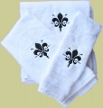Embroidered Black Fleur De Leis 3pc White Towel Set