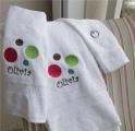 Personalized Polka Dot 3 pc Bath Towel Set