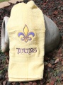 Fleur De Leis Yellow Gold and Purple on Color BathTowel