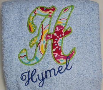 Fabric Applique Letter and Name Bath Towel