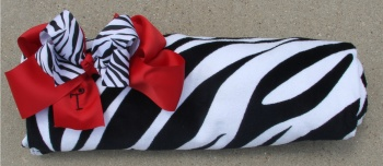 Zebra Print Beach Towel and Zebra Bow Matching Set