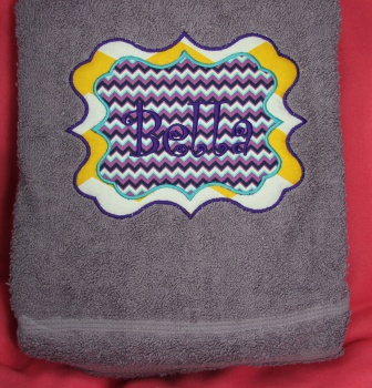 Sassy Monogram Embroidered Name Bath Towel Chevron