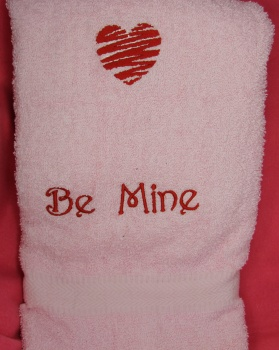 Red Heart Bath Towel Be Mine