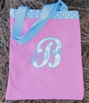 Applique Letter and Embroidered Name Canvas Tote Bag