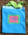 Turquoise Chevron Lime Green and Pink Canvas Tote Bag