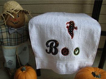 Boo It's a Ghost Hand Towel Applique