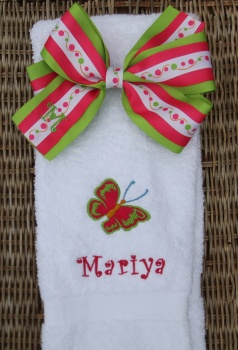 Butterfly Towel and Matching Hair Bow Set