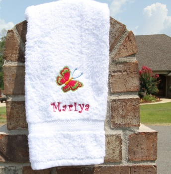 Shocking Pink Lime Green Butterfly White Hand Towel