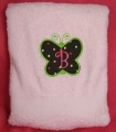 Butterfly First Initial Applique Colored Bath Towel