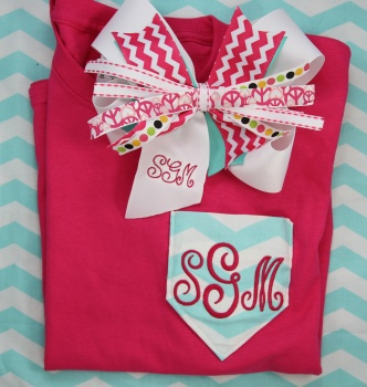 Chevron Pink Tee Shirt and Matching Chevron Bow