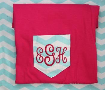 Chevron Turquoise Pocket Tee Shirt Monogrammed Initials
