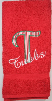 Red White Striped Letter and Family Name Hand Towel