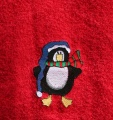 Embroidered Christmas Penguin Red Hand Towel