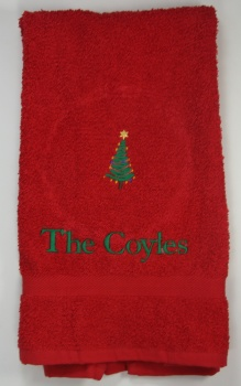 Embroidered Green Christmas Tree on Red Hand Towel