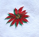 Embroidered Christmas Poinsettia Flower Hand Towel
