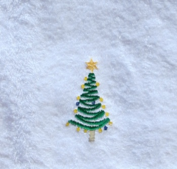 Embroidered Christmas Tree on White Hand Towel
