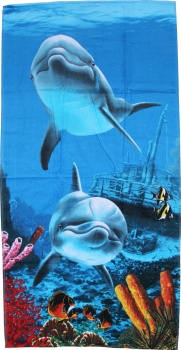 Beach Towel Dolphins Swimming Under The Sea