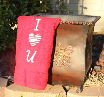 Embroidered I Love U Hand Towel