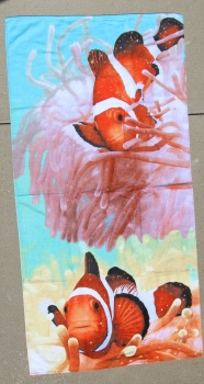 Orange Clown Fish Beach Towel