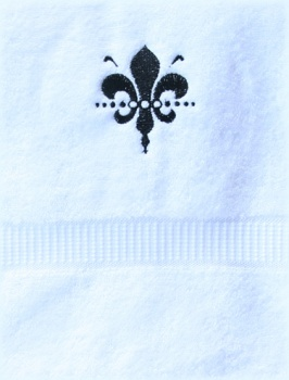 Embroidered Black Fleur De Leis White Hand Towel