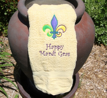 Fleur De Leis Mardi Gras Applique on Yellow Bath Towel