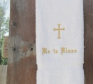 Embroidered Gold Cross He Is Risen Hand Towel