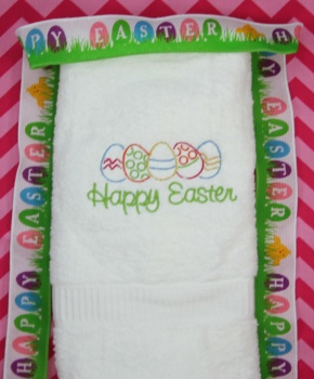 Embroidered Happy Easter Lime Green Eggs Hand Towel
