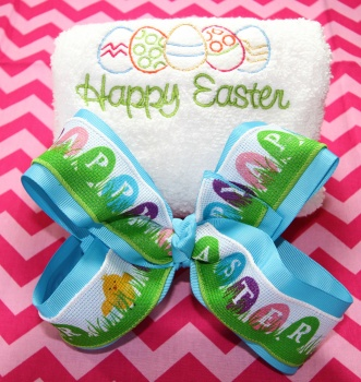 Embroidered Easter Eggs Hand Towel and Easter Bow