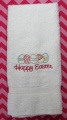 Embroidered Pink Happy Easter Egg Hand Towel