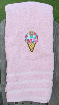 Ice Cream Cherry Applique on Colored Bath Towel
