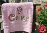Ice Cream Cherry Applique Letters on Colored Bath Towel