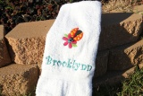 Personalized Embroidered LadyBug Flower Hand Towel