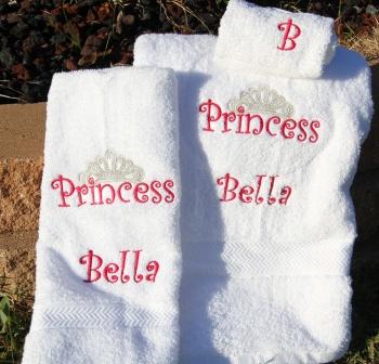 Hot Pink Princess Crown 3pc WhiteTowel Set