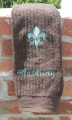 Personalized Turquoise Fleur De Leis Brown Hand Towel