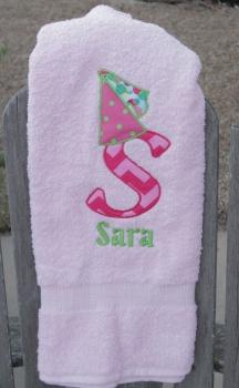 Princess Hat Big Letter Applique and Name Pink Bath Twl