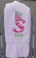Princess Hat Big Letter Applique and Name Pink Bath Twl