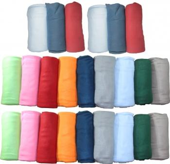 Case of 24 Fleece Throw Blankets Assorted Colors 50x60