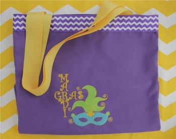 Mardi Gras Embroidered Purple Tote Bag with Mask