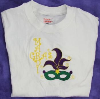 Mardi Gras Embroidered Tee Shirt