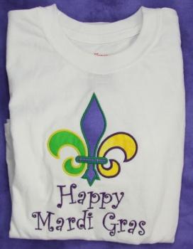 Mardi Gras Fleur de Leis Applique Tee Shirt