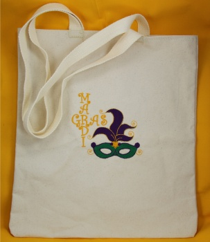 Mardi Gras Embroidered Canvas Tote Bag