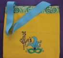 Mardi Gras Embroidered Yellow Tote Bag with Mask