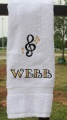 Personalized Embroidered Music Note 2 Colors Hand Towel