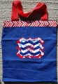 Navy Canvas Tote Bag with Red and Blue Chevron Stripes