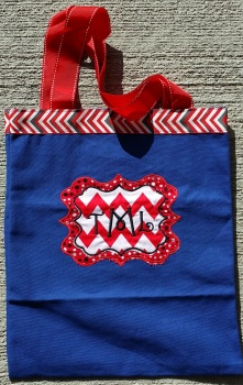 Navy Canvas Tote Bag Red and Black Polka Dots Chevron