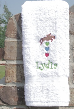 Personalized Embroidered Jumping Horse Heart Hand Towel