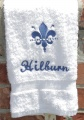 Personalized Embroidered Blue Fleur De Leis Hand Towel