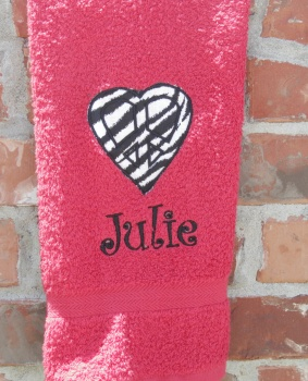 Personalized Applique Zebra Peace Sign Heart Hand Towel