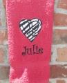 Personalized Applique Zebra Peace Sign Heart Hand Towel